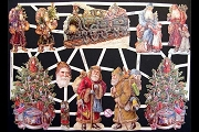 Hand-Glittered Reproduction Chromolithograph Embossed Die-Cut Reliefs - Glitter Santa with Train
