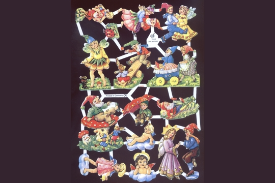 Reproduction Chromolithograph Embossed Die-Cut Reliefs - Gnomes and Friends