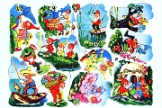 Vintage Gnomes on the Go Chromolithograph Embossed Die-Cut Scrap Reliefs