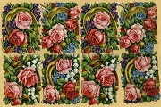 Vintage Horseshoe Rose Bouquet Chromolithograph Embossed Die-Cut Relief Paper Scraps