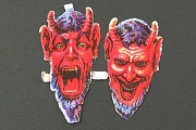 Rare Vintage Die-Cut Chromolithograph Scraps: Small Krampus Head Set
