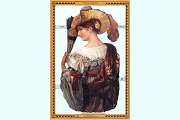 Die Cut and Embossed Reproduction Chromolithograph Scraps - Large Lady with Hat