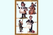 Reproduction Chromolithograph Embossed Die-Cut Scrap Reliefs - Musicians