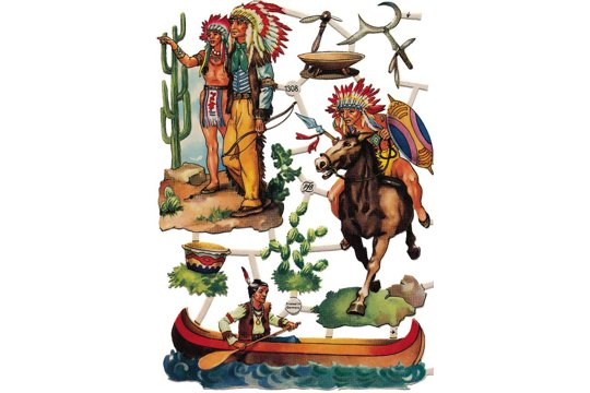 Vintage Native American Indians Chromolithograph Embossed Die-Cut Reliefs - Sheet 1