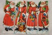 Authentic Vintage Chromolithograph highly Embossed Die-Cut Reliefs - 4 Olde Tyme Santas