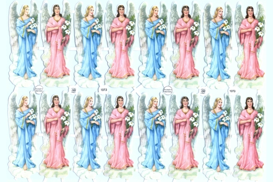 Vintage Pastel Angels Chromolithograph Embossed Die-Cut Scrap Reliefs