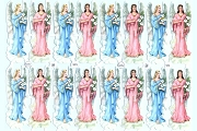 Vintage Chromolithograph Embossed Die-Cut Scrap Reliefs - Pastel Angels