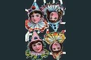 Very Rare Vintage German Pierrot Kids Scraps - Set of 4 Images