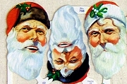 Reproduction Die-Cut Chromolithograph Scraps - 12 Large Santa Heads - Full Sheet