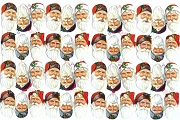 Reproduction Chromolithograph Embossed Die-Cut Reliefs - 48 Small Santa Heads - Full Sheet