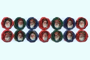 VINTAGE Chromolithograph Embossed Die-Cut Scrap Reliefs - Santas in Circle Wreaths (Set of 14)