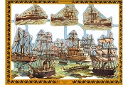 LARGE Reproduction Chromolithograph Embossed Die-Cut Scrap Reliefs - Ships of Iron