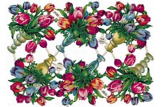 Vintage Tulips Chromolithograph Embossed Die-Cut Scrap Reliefs