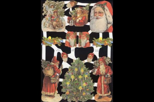Reproduction Chromolithograph Embossed Die-Cut Reliefs - Victorian Santas