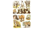Reproduction Chromolithograph Embossed Die-Cut Scrap Reliefs - Zoo Animals