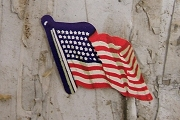 Vintage Die Cut Dennison Gummed Seals - Medium American Flags - Package of 5