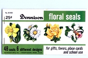 Complete Booklet of 48 Vintage Dennison Gummed Seals - 6 Different Florals