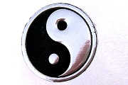 Embossed Silver and Black Yin Yang Metallic Seals - Package of 12