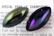 Large Vintage Iridescent Black Large Navette Shaped Sew-On Sequin