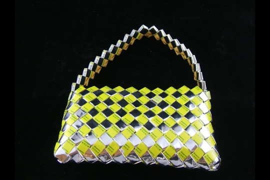 Sunny Yellow and Silver Candy/Food Wrapper Purse with Handle