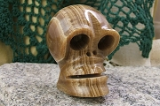 Hand Carved Brown Marble Skull