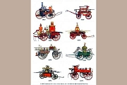 Sticker Sheet of 8 Vintage American Fire Engines (Embossed and Die-Cut)