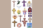 17 Self-Stick Crosses Stickers