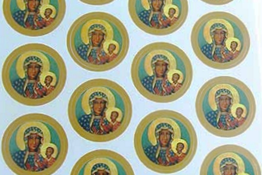 Sheet of 18 SMALL Metallic Accent Our Lady of Czestochowa Stickers
