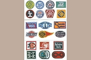 Embossed Stickers of Vintage Railroad Emblems