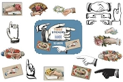 Package of 21 Die-Cut Every Day USEABLE HANDS Stickers