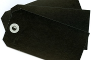 Package of 10 Large Black Tags with Grey Reinforcements