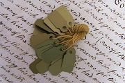 Package of 20 Golden Micro Metallic Plastic Tags with Matching Strings