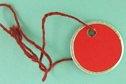 Vintage Mini Red Key Tags with Matching Red Strings - Package of 10