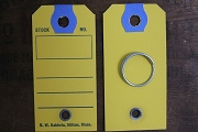 Package of 5 Vintage Yellow Key Tags with Blue Reinforcement & Bonus Vintage Tag Ring