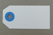 Package of 10 Vintage Mini Manila Tags with Blue Reinforcements
