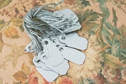 Package of 20 Silver Micro Metallic Plastic Tags with Matching Strings