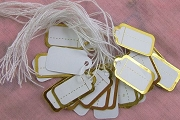 Package of 25 White and Gold Tiny Jewelry Tags with Rayon Strings