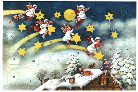 Angels and Stars Advent Calendar Note Card
