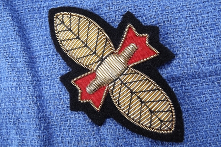 Vintage Bee or Butterfly Applique Patch with Gold Bullion Passementerie