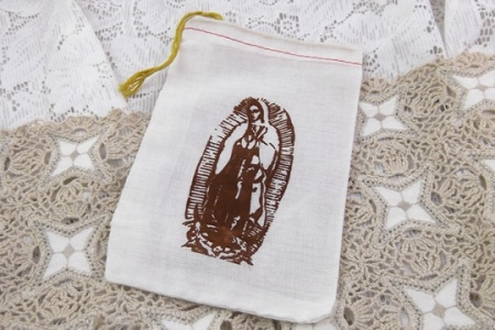 Muslin Draw String Bag with Hand Printed Our Lady of Guadalupe Image