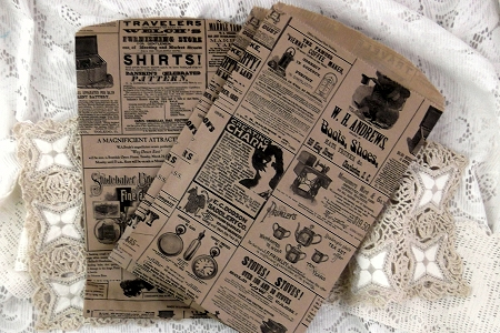Package of 5 Vintage Style Newsprint Kraft Paper Bags