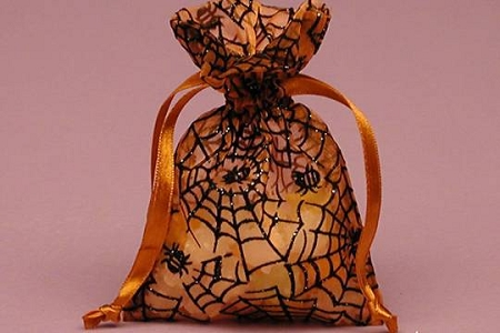 Orange Organza Spiderweb Drawstring Bag