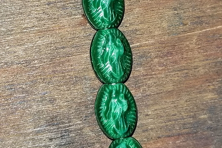 Tiny Pressed Green Glass GUADALUPE Bead