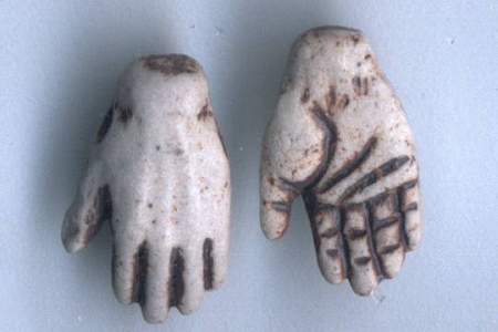Mini High Fire Ceramic Hands Bead Set - 1 Left & 1 Right