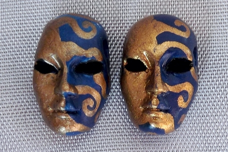Ornately Painted Sun Mask Bead