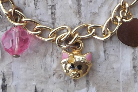 Vintage Golden Kitty Cat Charm Bracelet