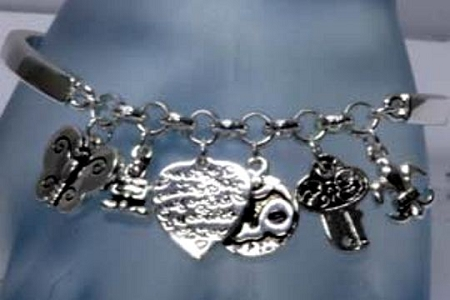 Silvery Stretch Charm Bracelet - Eternal Good Karma