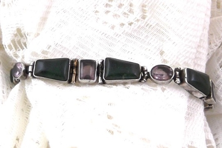 Adjustable Amethyst and Green Agate Bracelet in Sterling Silver
