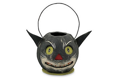 Papier Mâché SCARY Black Cat Bucket