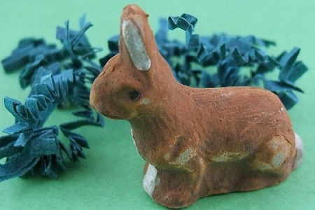 Vintage German Hand-Painted Chalk Bunny